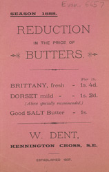 Advert for W Dent, dairy produce